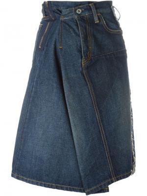 Драпированная джинсовая юбка А-силуэта Junya Watanabe Comme Des Garçons. Цвет: синий