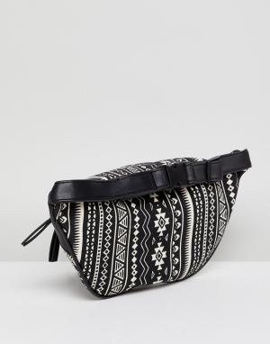 New Look Сумка-кошелек на пояс с принтом в стиле 90-х. Цвет: черный