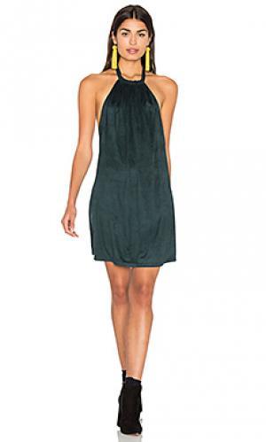 Замшевое платье на бретельках Bishop + Young. Цвет: темно-зеленый