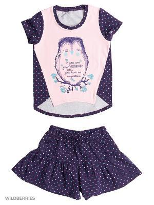 Комплект Футболка и Шорты ИП Комарова Е. П.. Цвет: фиолетовый, бледно-розовый