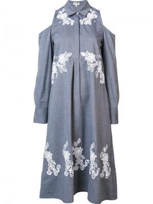 Платье-рубашка свободного кроя Suno. Цвет: серый
