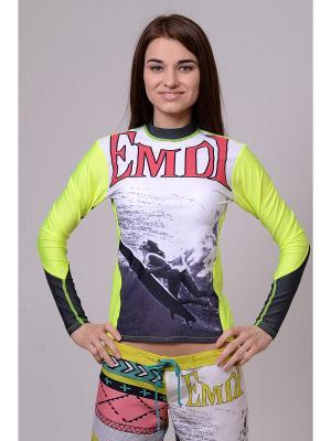 Лонгслив EMDI. Цвет: салатовый, белый, черный