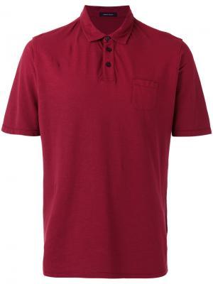 Футболка-поло с нагрудным карманом Roberto Collina. Цвет: красный