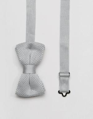 7X Серый трикотажный галстук-бабочка в упаковке. Цвет: серый