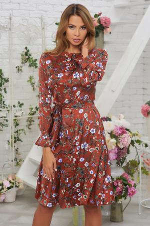 Шелковое платье с поясом и цветочным принтом Vittoria Vicci. Цвет: коричневый