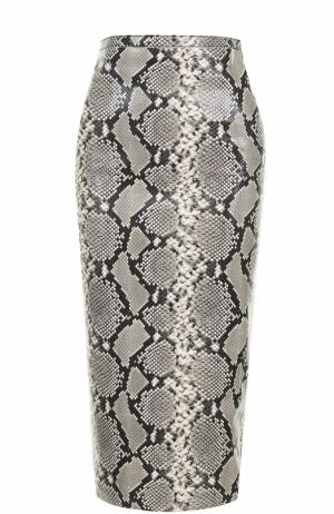 Кожаная юбка-карандаш Rochas. Цвет: серый