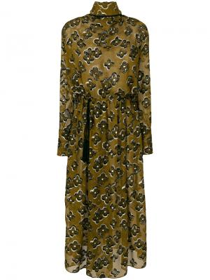 Платье с отворотом и цветочной вышивкой Petar Petrov. Цвет: коричневый