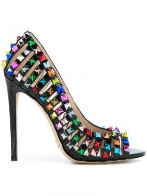 Туфли-лодочки с заклепками Gianni Renzi. Цвет: чёрный