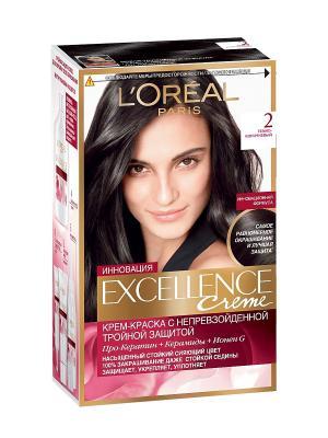 Стойкая крем-краска для волос Excellence, оттенок 2, Темно-коричневый L'Oreal Paris. Цвет: черный