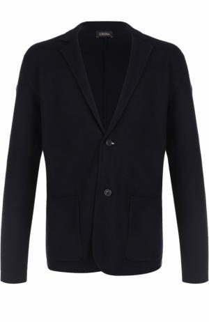 Однобортный шерстяной пиджак Z Zegna. Цвет: темно-синий