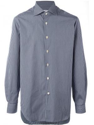 Рубашка в клетку на пуговицах Kiton. Цвет: синий