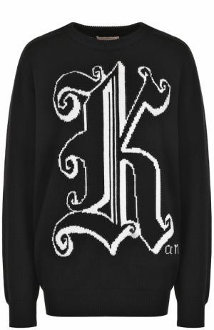 Шерстяной пуловер с круглым вырезом и принтом Christopher Kane. Цвет: черный