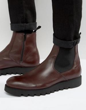 Zign Кожаные ботинки челси. Цвет: красный
