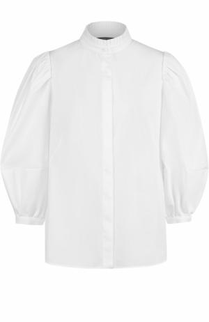 Блуза с воротником-стойкой и укороченным рукавом-фонарик Alexander McQueen. Цвет: белый