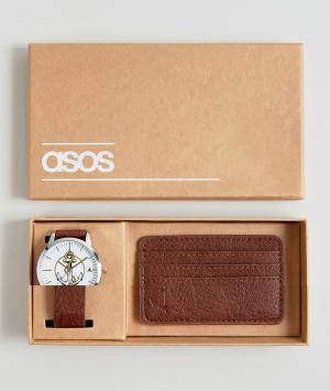 ASOS Набор из часов и кредитницы с якорем. Цвет: коричневый