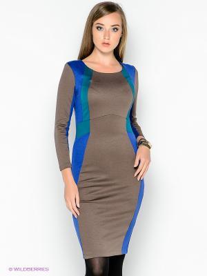 Платье МадаМ Т. Цвет: коричневый, синий, морская волна