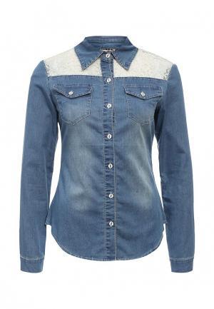 Рубашка джинсовая Kiss Pink. Цвет: голубой