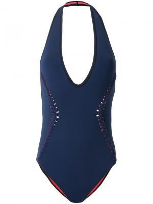 Слитный купальник с плетением Dion Lee. Цвет: синий