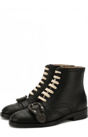 Кожаные ботинки Queercore с брогированием Gucci. Цвет: черный