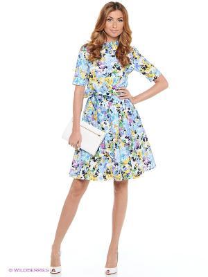 Платье CLABIN. Цвет: зеленый, голубой, желтый, белый, фиолетовый