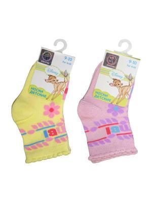 Носки 2 пары Master Socks. Цвет: желтый, розовый