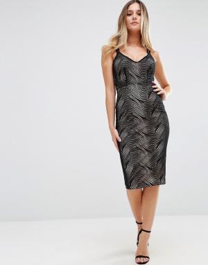 Jessica Wright Платье миди на двойных бретельках. Цвет: черный