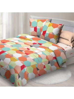 Комплект постельного белья сем Спал Спалыч рис.4084-1 Карамель. Цвет: персиковый, бирюзовый, оранжевый