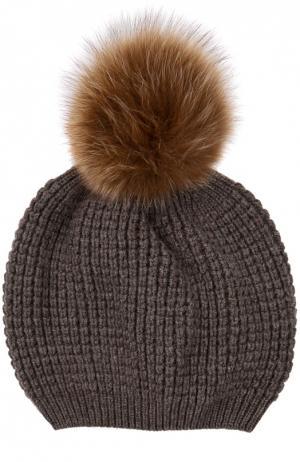 Кашемировая шапка с помпоном из меха енота Kashja` Cashmere. Цвет: светло-коричневый