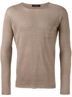 Джемпер с накладным карманом Roberto Collina. Цвет: коричневый