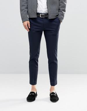 ASOS Темно-синие укороченные облегающие брюки в строгом стиле. Цвет: темно-синий