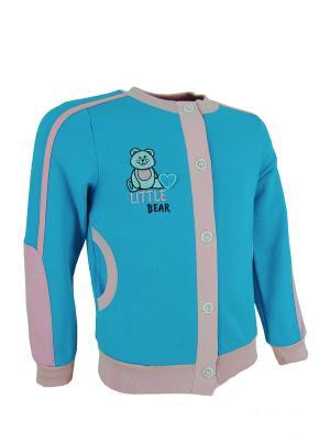 Куртка из футера Милослава. Цвет: морская волна, розовый