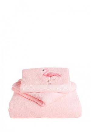 Комплект полотенец 3 шт. Bellehome. Цвет: розовый