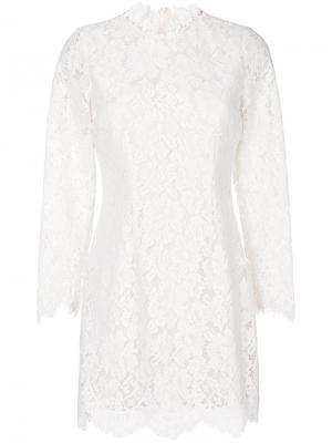Кружевное платье с фестончатыми краями Ganni. Цвет: белый