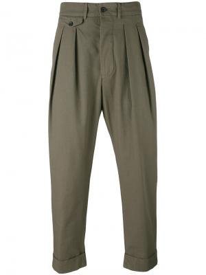 Pleated trousers Wooster + Lardini. Цвет: зелёный