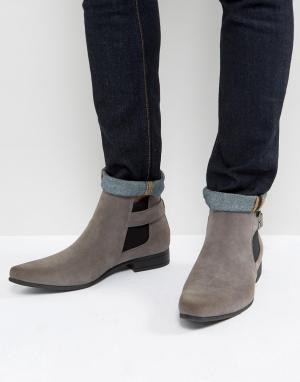 ASOS Серые ботинки челси из искусственной замши с ремешком. Цвет: серый