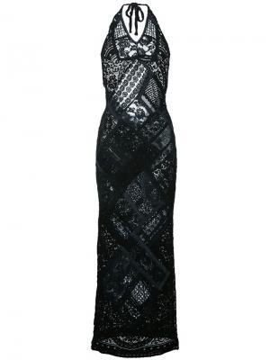 Вязаное платье с кружевом и вырезом-халтер Anjuna. Цвет: чёрный