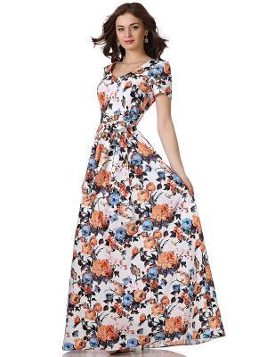 Платье OLIVEGREY. Цвет: белый, голубой, оранжевый