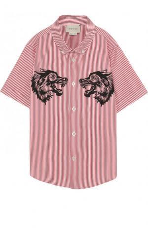 Хлопковая рубашка с принтом и воротником button down Gucci. Цвет: красный