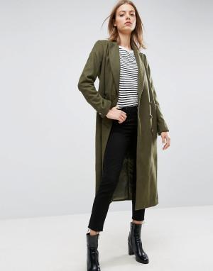 ASOS Полушерстяное пальто в стиле милитари. Цвет: зеленый