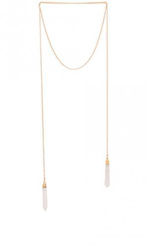 Ожерелье double crystal wrap Jacquie Aiche. Цвет: металлический золотой