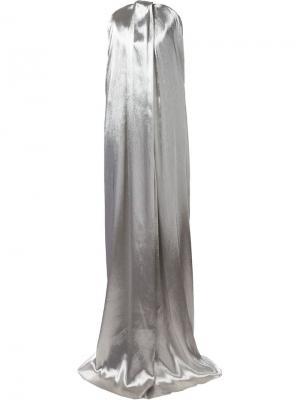 Вечернее платье без бретелек Monse. Цвет: металлический