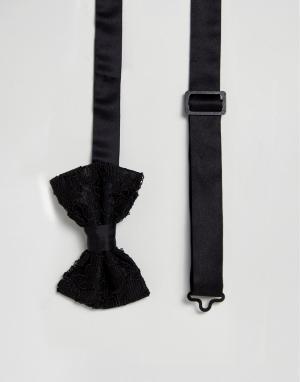 ASOS Черный кружевной галстук-бабочка. Цвет: мульти