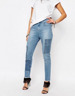 Northmore Denim Укороченные джинсы скинни в стиле пэчворк. Цвет: синий