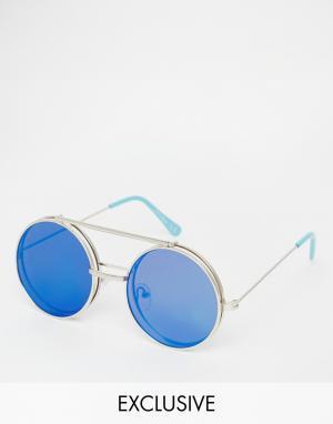 Jeepers Peepers Круглые солнцезащитные очки с зеркальными линзами. Цвет: синий