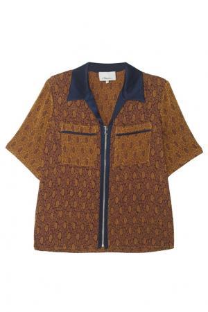 Жаккардовая блузка в пижамном стиле 3.1 Phillip Lim. Цвет: коричневый