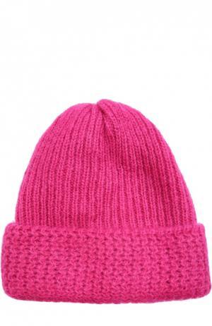 Вязаная шапка из смеси шерсти и мохера Tak.Ori. Цвет: фуксия