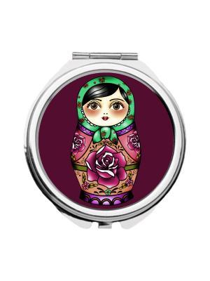 Зеркальце карманное Матрешка в зеленом платке Chocopony. Цвет: светло-зеленый, фиолетовый, фуксия