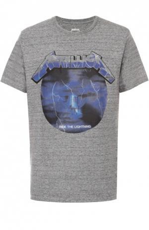 Хлопковая футболка с контрастным принтом Elevenparis. Цвет: серый