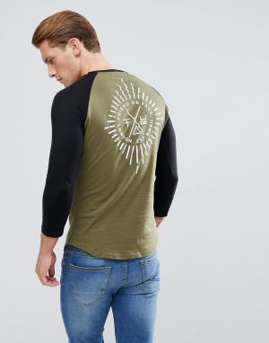 Friend or Faux Лонгслив с рукавами реглан и принтом на спине Starburst. Цвет: зеленый