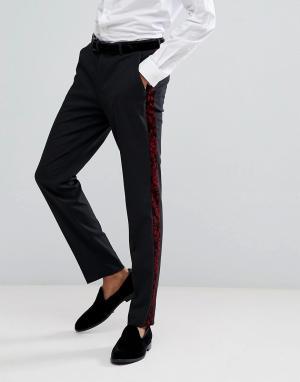 ASOS Красные брюки скинни под смокинг с узором пейсли. Цвет: черный